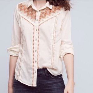 Anthropologie Holding Horses Embroidered Blouse